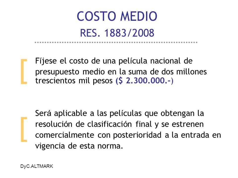 COSTO MEDIO RES. 1883/2008 [ Fíjese el costo de una película nacional de.